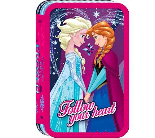 kids4shop Disney FROZEN die EISKÖNIGIN 3-Fach 43 TEILE DREISTÖCKIG FEDERTASCHE FEDERMAPPE GEFÜLLT lila + Sticker