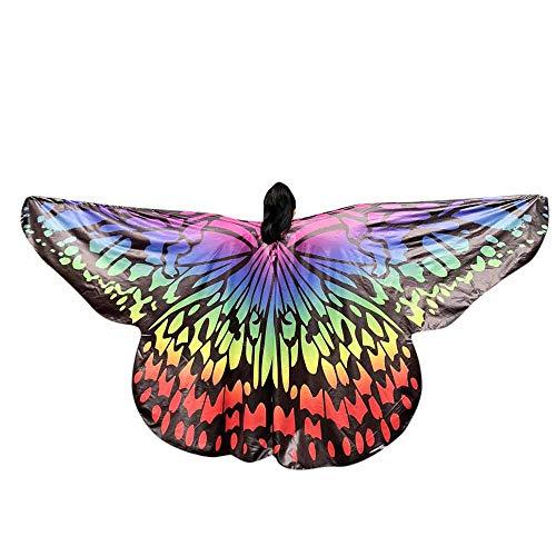WOZOW Damen Schmetterling Schmetterlingsflügel Kostüm Karneval Fasching Faschingkostüme Poncho Schal Tuch Umhang für Party Cosplay (Mehrfarbig 3)