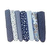 Souarts Textile Tissu Coton Motif Petit Fleur pour DIY Patchwork Artisanat Couture Bleu Foncé 25cmx25cm 7PCS