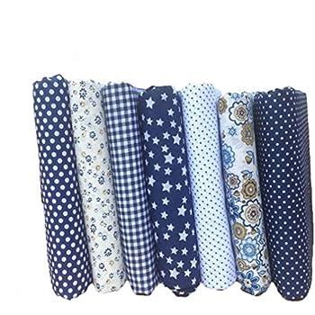 Souarts Textile Tissu Coton Motif Petit Fleur pour Diy Patchwork Artisanat  Couture Bleu Foncé 25cmx25cm 7PCS 526033c8e495