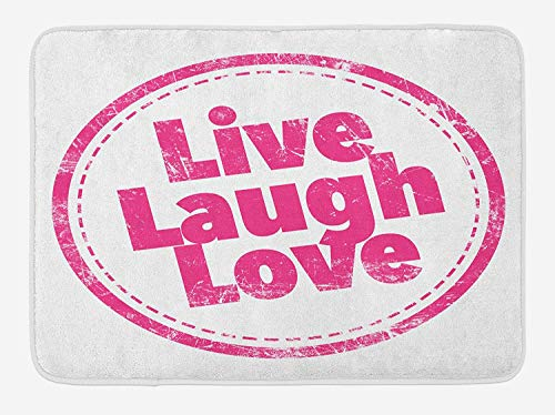 KAKICSA Live Laugh Love Bath Mat, Motivational Lifestyle Stamp Cute Grunge Retro Artwork Illustration, Plush Bathroom Decor Mat with Non Slip Backing, Hot Pink White,15.7X23.6 inch