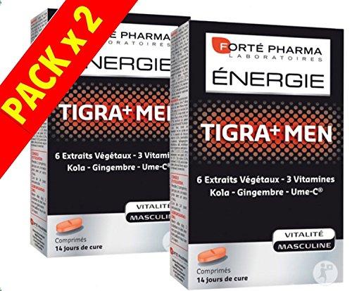 Forte Pharma - ENERGIE TIGRA+ MEN - Tigramen Kola Gingembre Ume-C - Lot de 2 x 28 Comprimés