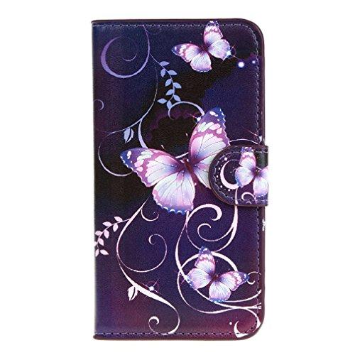 2 Galaxy Etui Samsung Core (Purple Butterfly Drucken Design schutzhülle für Samsung Galaxy Core Prime G360 SM - G360f G361f Hülle,PU Leder Wallet Handytasche Flip Case Cover Etui Schutz Tasche mit Integrierten Card Kartensteckplätzen und Ständer Funktion für Samsung Galaxy Core Prime G360 SM - G360f G361f)