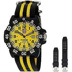 Luminox Men's Scott Cassell 44mm Two Tone Nylon Band Polycarbonate Case Quartz Yellow Dial Watch 3955SET