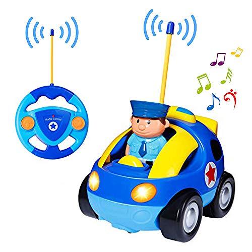 Yojoloin Fernbedienung Racer Auto Spielzeug für Kleinkinder, Cartoon RC Polizeiauto Spielzeug mit Musical & Licht, Radio Control Cartoon Spielzeug Auto Beste Geburtstagsgeschenk für Kinder Kinder