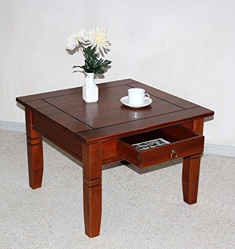 Casa Massivholz Couchtisch Beistelltisch kirschbaumfarben Tisch 65x65cm Schublade