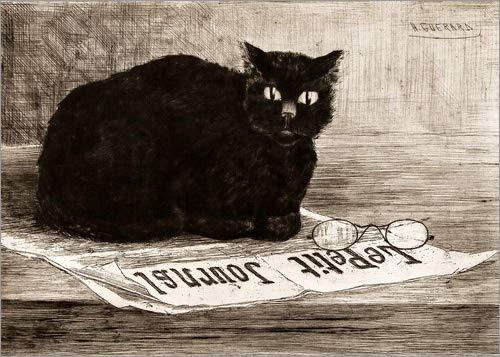 Poster 100 x 70 cm: Chat Noir sur un Journal von Henri-Charles Guerard - hochwertiger Kunstdruck, neues Kunstposter (Noir Chat Poster La)