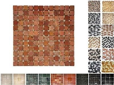 1Netz Marmor Mosaik Rosso 23 von Mosaikdiscount24 - TapetenShop