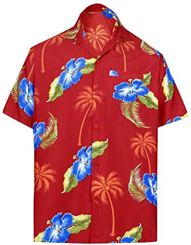 LA LEELA männer Hawaiihemd Kurzarm Button Down Kragen Fronttasche Beach Strand Hemd Manner Urlaub Casual Herren Aloha rot_481 L Likre 1897
