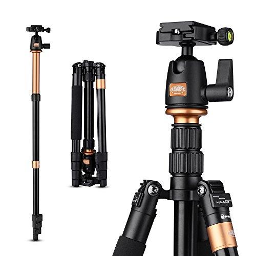 Rangers 55.5″ tragbar Professional CNC Bearbeitete Aluminium Stativ mit 360° ABS Kugelkopf mit Wasserwaage für DSLR Kameras RA065