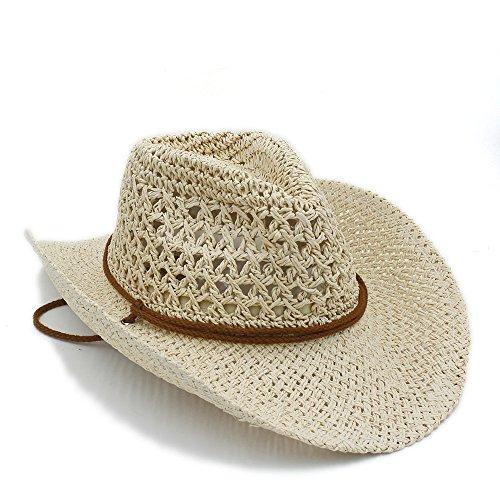 (Yaojiaju Sommer Frauen Toquilla Stroh Cowboy Hut Für Gentleman Panama Jazz Hüte Pate Sombrero Cap (Farbe : Sahne, Größe : 58 cm))