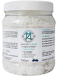 Magnesium Flakes Zechstein MAGNOLEUM 750g Magnesiumchlorid Hexahydrat – Magnesium-Fussbad-Zusatz – Magnesium Flocken – Badekristalle - Badesalz – Bischofit -Magnesiumflakes aus dem Zechsteinmeer