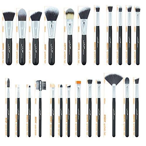 LEXUPE JAF 24 Pcs Pinceau De Maquillage Set Cosmétiques pour Le Visage Professionnelle Outil De Mélange Pinceau(Noir Jaune,34)