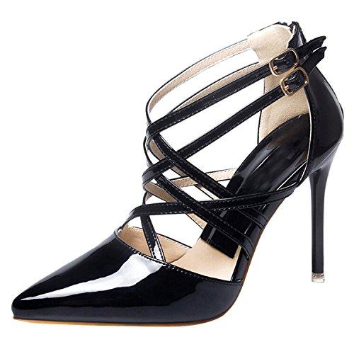 Oasap Women's Pointed Toe High Heels Stiletto Cross Sandals Noir