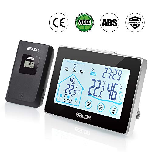 infinitoo Wetterstation Funk mit Außensensor Thermometer-Hygrometer für Innen und außen| Funkuhr mit Thermometer| LCD-Display Weiße Hintergrundbeleuchtung und Uhrzeit Anzeige