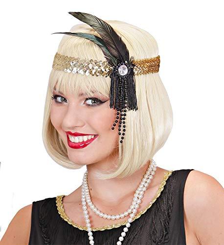 shoperama 20er Jahre Charleston Kopfschmuck mit Pailletten und Federn Flapper Kostüm-Zubehör Damen Twenties 20's Gatsby Girl (Twenties Girl Kostüm)