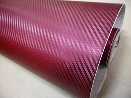 Ocamo Geburtstagsgeschenk | Autozubehör,3D Carbon Fiber Vinyl Filmverpackung für Auto Fahrzeug Laptop Wine Red 20 * 50in -