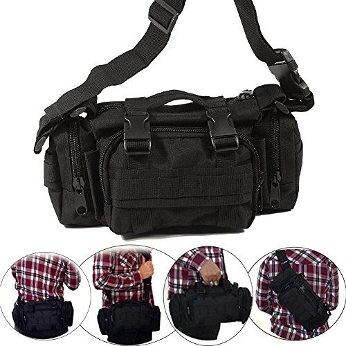 VINILO Versipack Militär-Tasche, Taktische Beintasche für Oberschenkel, Überkreuzung, wasserabweisend, Nylon Taillengürtel für Outdoor, Radfahren, Motorrad, Reiten, Mehrzwecktasche, schwarz 2