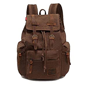 WindFeel Vintage Retro Canvas Backpack for Camping School Hiking Travel Casual Leather Bags for both Women and Men Bookbag for Teen Girls and Boys Coffee Color