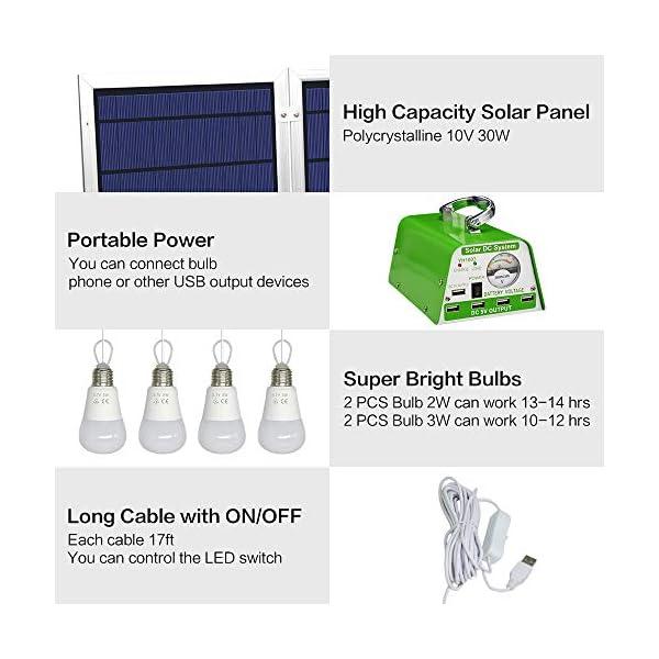 [30W Foldable Solar Panel ] YINGHAO Solar Panel Lighting Kit, Solar Home DC System Kit 2