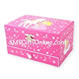 Pink Princess and Magical Unicorn with Stars and Butterflies Pink Children Musical Jewellery Box with One Drawer