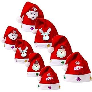 8 Piezas de Sombrero de Navidad Gorra de Terciopelo de LED Luz Sombrero de Patrón de Papá Noel Reno Monigote de Nieve Oso Favores de Fiesta para Adultos y Niños