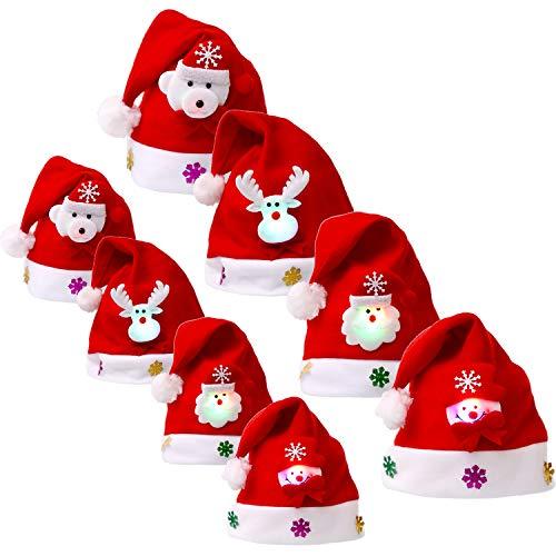 8 Stück Weihnachten Hüte LED Licht Hut Weihnachtsmann Rentier Schneemann Bär Muster Hüte Party Favors für Erwachsene und Kinder (Rentier Kostüm Muster)