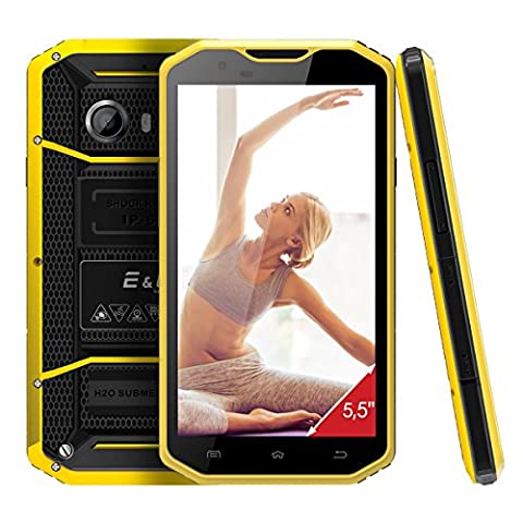 E&L Proofings W8 Android Smartphone 5,5 Zoll 4G LTE HD Shockproof Kratzfestes Antiseptisches Gorilla Glas Robustes Telefon mit 8MP+5MP Kamera,2GB RAM 16GB ROM GPS Octa Core 1.5GHz Dual SIM Outdoor