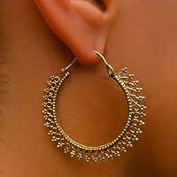 Ohrringe aus Messing - Messing Reifen Ohrringe - Zigeuner Ohrringe - Stammes-Ohrringe - ethnische Ohrringe - Indische Ohrringe - Erklärung Ohrringe - große Ohrringe - Messing Schmuck - Große Reifen