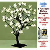 72LED Cherry Blossom Tree Lamp | 8 Mode Functions | 450mm Height & Lead Wire | Bonsai Style | Stable Square Metal Base (Warm White, 72LED/45CM Battery Operated)