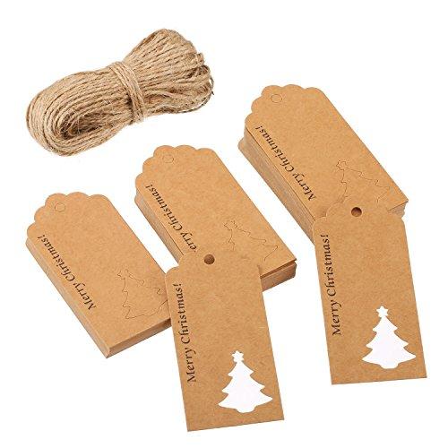 100 Stück Papier Geschenk Etikette Handwerk Hängend Etikette Hohlen Weihnachtsbaum Design mit 30 Meter Schnur für Weihnachten Hochzeit Dekoration Geschenkpapier (Braun) - Ergänzung Behandeln