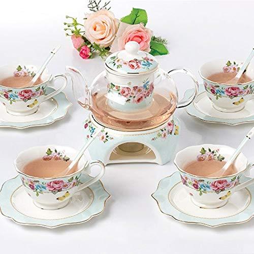 zgyzpl Kaffee-TasseSet Edle Bone China Drinkware Tasse Und Untertasse Keramik Tee Set Beheizbare Glasteekanne Kaffeetasse