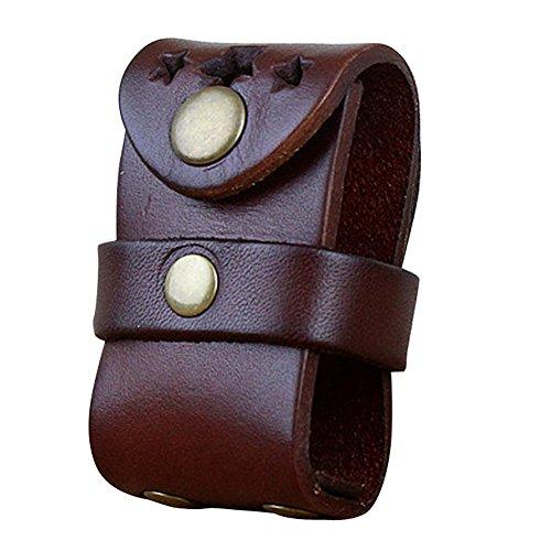boshiho da uomo in vera pelle flip-top luce porta con passante per cintura, Chestnut, 2.91 * 1.57 * 1.37 inch