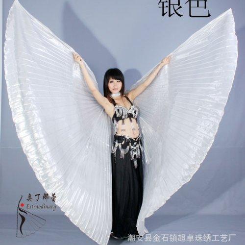 Bingo-De Ägyptische Ägypten Belly Dance Bauchtanz Tanzen Kostüm Isis Wings Wear Flügel (Silber) (Erwachsenen Ägyptische Kostüme)