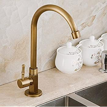 Tourmeler 360 Degree Antique Brass Swivel Faucet Single Cold