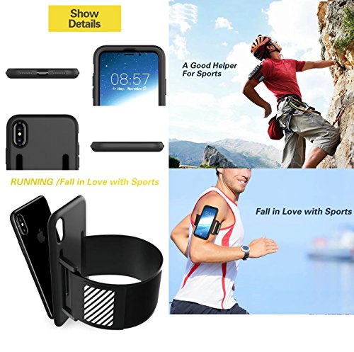 iPhone X Cover, 360 Full Edge Armlet Walking Running Arm Band Sling Belt Outdoor Portable Soft EnCover Custodia IC Card Slot, TAITOU Cool Go Hiking Climb Sports Light Slim Cover for Apple iPhone X Red BBlack
