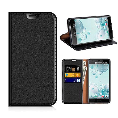 HTC U Ultra Hülle, Mobest HTC U Ultra Lederhülle, HTC U Ultra Ledertasche, Handyhülle Wallet Brieftasche Tasche Schutzhülle mit Kartenfach Standfunktion für HTC U Ultra - Schwarz