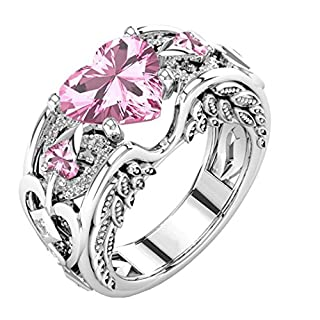 Rings,AutumnFall New Womens Silver Natural Ruby Gemstones Birthstone Bride Wedding Engagement Heart Alloy Ring (Size 8, Pink)