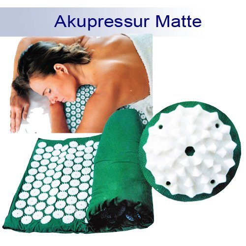 Yoga Akupressurmatte Akupunkturmatte Shanti Iplikator Nagelmatte 65x39 grün