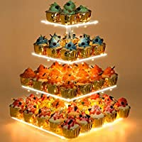 Cake Stand,5 Tier Acrylic Display Stands + LED Light String-Preferred for Party Celebrations-Ideal for Weddings, Birthday