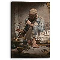 Charles Sprague Pearce - El joyero árabe (ca. 1882), 70 x 100 cm (varios tamaños disponibles), Impresión de la lona enmarcada en el marco de madera genuino y listo para colgar, impresión de alta calidad hecha a mano.