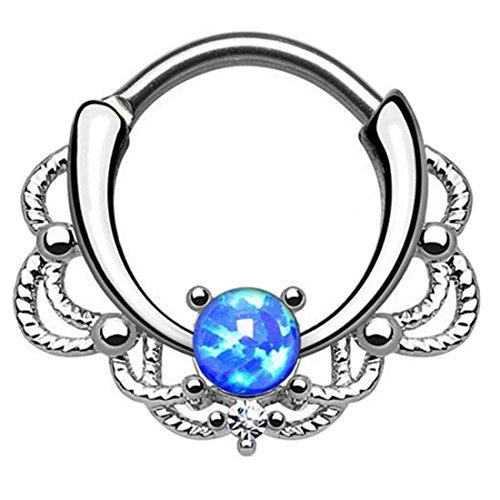 HuaCan Spetum Piercing Clicker mit Australischer Edelstein G23 Titan Indisch Nasenpiercing Ring Stecker Nasenring Gold Silber für Nase Ohr Brust