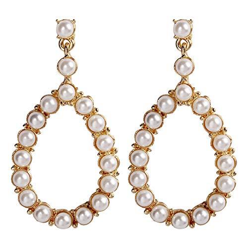 GLJIJID Temperament Mode Vielseitigen Arbeitsplatz Voller Perlenohrringe Ohrringe, Exquisite Legierung Diamantohrringe, Machen Sie Schöner Gold