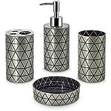 Freelance Miami Polystyrene 4 Pieces Bathroom Set-Dispenser, Toothbrush Holder, Tumbler & Soap Dish, Silver