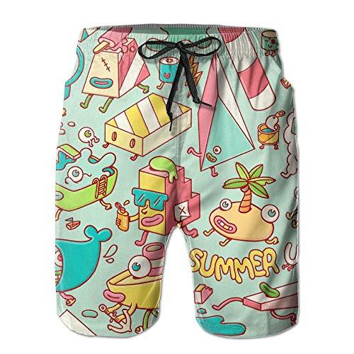 Summer Up Cute Skull Cheese Hot Dog Men's Unique Design Printing Sandy Beach Pants XXL -