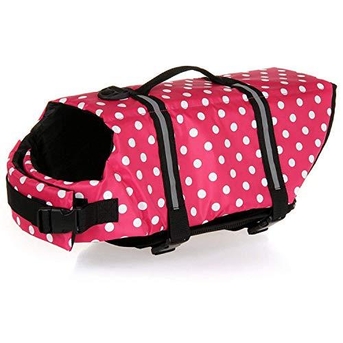haocoo Dog Life Jacke Weste Saver Sicherheit Badeanzug Preserver Mit Reflektierende Streifen/verstellbare Gürtel für alle Größe Hunde, pink mit punkten