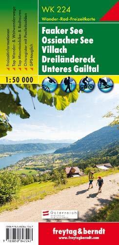 Faaker See - Ossiacher See - Villach - Dreiländereck - Unteres Gailtal, Wanderkarte 1:50.000, WK 224: Wandel- en fietskaart 1:50 000