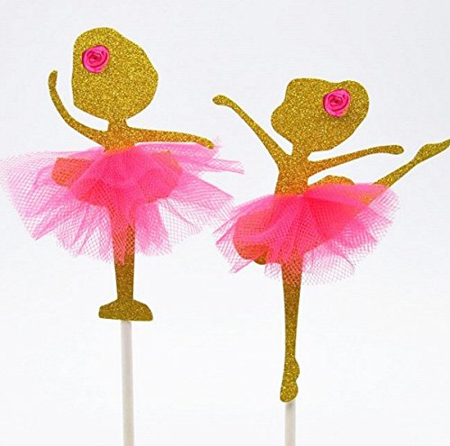 (2Designs) Gold Ballett Ballerina Tänzerin Cup Cake Topper Geburtstag Dekoration Tutu Kuchen Toppers Kit-12Stück (Cup Cake Toppers)