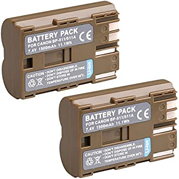 BP-511 & BP-511A Battery, BPS 2pcs Fully Decoded BP511 BP511A Batteries for Canon EOS 5D 50D 300D, Powershot G5 G2 G3 G6 G1, MV30 MV300 MV400 MV430 MV450 Digital Cameras