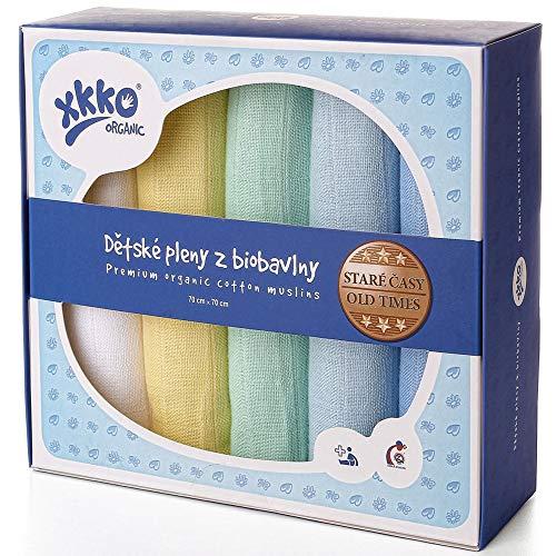 xkko Mullwindeln Muslin 70x70 cm Bio-Baumwolle 5er-Set Pastels Boy